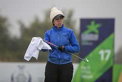 Great Britain's Georgia Hall wipes her grip prior to teeing off at the 17th hole during her semi final match this morning with Sweden during day eleven of the 2018 European Championships at Gleneagles PGA Centenary Course.