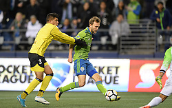 March 1, 2018 - Seattle, Washington, U.S - Soccer 2018: Seattle Sounder midfielder MAGNUS WOLFF EIKREM (22) shoots and scores as Santa Tecla FC visits the Seattle Sounders for a CONCACAF match at Century Link Field in Seattle, WA. Seattle won the match 4-0. (Credit Image: © Jeff Halstead via ZUMA Wire)