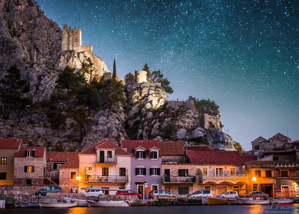 Mirabela fortress in Omis.<br /> Juxtaposition of two skies.