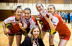3rd placed Players of RK Celje Urska Robic, Pavlina Stropnik ... celebrate after the handball match between RK Krim Mercator and ZRK Z'Dezele Celje in Last Round of Slovenian National Championship 2016/17, on April 18, 2017 in Arena Galjevica, Ljubljana, Slovenia. Photo by Vid Ponikvar / Sportida