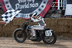 Scott Johnson (15) with his 1942 Harley-Davidson WLA Flathead at the Bradford Beach Brawl, a TROG style beach racing event, during the Harley-Davidson 115th Anniversary Celebration event. Milwaukee, WI. USA. Saturday September 1, 2018. Photography ©2018 Michael Lichter.