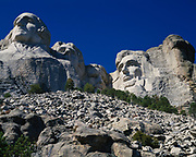View from the talus slope of Mount Rushmore carvings, Mount Rushmore National Memorial, South Dakota.
