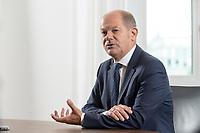 28 AUG 2020, BERLIN/GERMANY:<br /> Olaf Scholz, SPD, Bundesfinanzminister, waehrend einem Interview, Bundesministerium der Finanzen<br /> IMAGE: 20200828-01-008