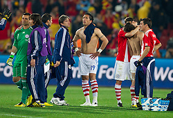 Players of Paraguay disappointed after the  2010 FIFA World Cup South Africa Quarter Finals football match between Paraguay and Spain on July 03, 2010 at Ellis Park Stadium in Johannesburg. Spain defeated Paraguay 1-0. (Photo by Vid Ponikvar / Sportida)