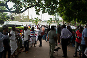 NPP Supporters at the private residence of presidential hopeful Nana Akuffo-Addo ahead of the official Electoral Commission declaration of election results. Accra-Ghana. December 8, 2016. Photo; Francis Kokoroko