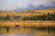Canoeing on Rainy Lake, Montana.