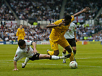 Fotball<br /> England 2004/2005<br /> Foto: SBI/Digitalsport<br /> NORWAY ONLY<br /> <br /> Derby County v Preston North End<br /> <br /> 19/05/2005.<br /> Coca-Cola Championship Play Offs, Second Leg. <br /> <br /> Derby's Adam Bolder (L) slides in with a tackle on Preston's Claude Davis