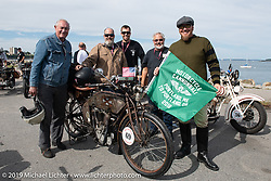 Race director Jason Sims with a group of riders ready to leave the start of the Motorcycle Cannonball coast to coast vintage run. Portland, ME. Friday September 7, 2018. Photography ©2018 Michael Lichter.