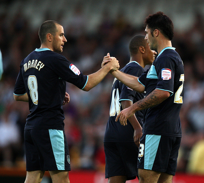 Burnley's Charlie Austin celebrates scoring his sides second goal with Dean Marney ..Football - Football - Capital One Cup First Round - Port Vale v Burnley - Tuesday 14th August 2012 - Vale Park - Burslem. .