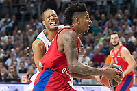 Real Madrid Anthony Randolph injured and CSKA Moscu Will Clyburn during Turkish Airlines Euroleague match between Real Madrid and CSKA Moscu at Wizink Center in Madrid, Spain. October 19, 2017. (ALTERPHOTOS/Borja B.Hojas)