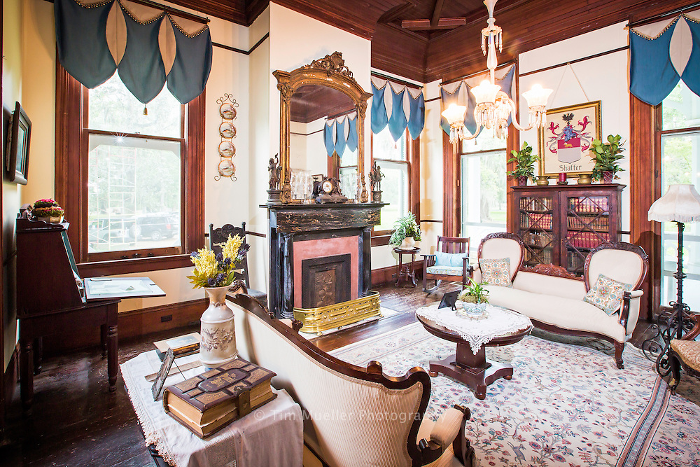 Built in 1894 Ardoyne Plantation in Terrebonne Parish is considered to be one of the largest and most elaborate examples in Louisiana of Victorian Gothic architecture. The women's parlor is one of  twenty-one rooms in the home named after a Scottish castle.