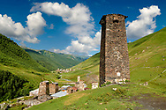 Stone medieval Svaneti tower of Queen Tamar's Castle,  Chazhashi, Ushguli, Upper Svaneti, Samegrelo-Zemo Svaneti, Mestia, Georgia. Queen Tamar of Georgia reigned from 1184–1213. The Tamar castle originally had 4 defensive stone towers, of which one survives,  connected by a curtain wall. The castles 3 other towers were destroyed by the Soviets in the 1930's. At 2,200 m (7217 ft) above sea level in the Caucasus mountains Ushguli is the highest inhabited village in Europe. Chazhashi has 13 well preserved stone Svanetian defensive tower houses attached to stone family houses. A UNESCO World Heritage Site. .<br /> <br /> Visit our REPUBLIC of GEORGIA HISTORIC PLACES PHOTO COLLECTIONS for more photos to browse, download or buy as wall art prints https://funkystock.photoshelter.com/gallery-collection/Pictures-Images-of-Georgia-Country-Historic-Landmark-Places-Museum-Antiquities/C0000c1oD9eVkh9c