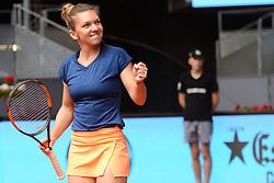 May 11, 2017 - Madrid, Spain - SIMONA HALEP of Romania celebrates winning her quarterfinal match v. C. Vandeweghe in the Mutua Madrd Open tennis tournament. (Credit Image: © Christopher Levy via ZUMA Wire)