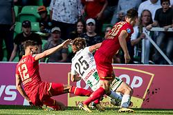 (L-R) Pantelis Hatzidiakos of AZ, Ritsu Doan of FC Groningen penalty during the Dutch Eredivisie match between FC Groningen and AZ Alkmaar at Noordlease stadium on October 15, 2017 in Groningen, The Netherlands