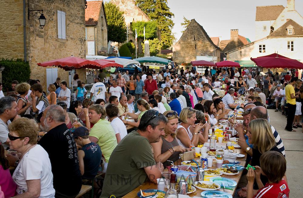 Village fete traditional festival in St Genies in the Perigord region,  France