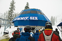 Skiiers waiting in line at the Summit Six chair lift at Alpine Meadows, Lake Tahoe, California