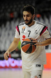 15.04.2015, Palacio de los Deportes stadium, Madrid, ESP, Euroleague Basketball, Real Madrid vs Anadolu Efes Istanbul, Playoffs, im Bild Real Madrid´s Facundo Campazzo // during the Turkish Airlines Euroleague Basketball 1st final match between Real Madrid vand Anadolu Efes Istanbul t the Palacio de los Deportes stadium in Madrid, Spain on 2015/04/15. EXPA Pictures © 2015, PhotoCredit: EXPA/ Alterphotos/ Luis Fernandez<br /> <br /> *****ATTENTION - OUT of ESP, SUI*****