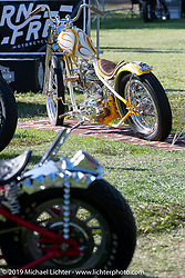 BF11 invited builder McElwee's Bad Luxury custom 1942 Indian Chief in the Invited Builders corral at the end of the day at the Born Free Motorcycle Show (BF11) at Oak Canyon Ranch, Silverado  CA, USA. Saturday, June 22, 2019. Photography ©2019 Michael Lichter.