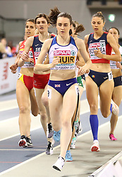 Great Britain's Laura Muir during the Women's 1500m Final during day three of the European Indoor Athletics Championships at the Emirates Arena, Glasgow.