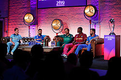 England's Eoin Morgan, India's Virat Kohli, Pakistan's Sarfaraz Ahmed, West Indies' Jason Holder and Afghanistan's Gulbadin Naib during the press conference during the Cricket World Cup captain's launch event at The Film Shed, London.