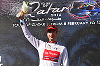 Podium, BYSTROM Sven Erik (NOR) Katusha, White Young Jersey , during the 15th Tour of Qatar 2016, Stage 2, Qatar University - Qatar University (145,5Km), Test Event Doha Road World Championships 2016, on February 9, 2016 - Photo Tim de Waele / DPPI