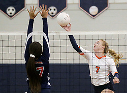 October 26, 2017 - Florida, U.S. - Benjamin's #7 Emma Lange (right) during the Class 4A girls volleyball regional semifinal between Miami Country Day and Benjamin at The Benjamin School in Palm Beach Gardens Thursday, October 26, 2017. (Credit Image: © Bruce R. Bennett/The Palm Beach Post via ZUMA Wire)