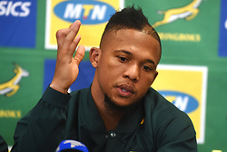 Cape Town-180619 Springbok flyhalf Elton Jantjies  feels he is ready to face England in their last game of the rugby test at Newslands on Saturday.He said this during a press conference at the Cullinan Hotel in Cape Town.Photographer:Phando Jikelo/African News Agency/ANA