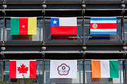 The flag of the Taiwanese Olympic team or Chinese Taipei (bottom Centre) flies from the offices of the Mainichi Newspaper Company display all 206 flags of the countries taking part in the 2020 Tokyo Olympic Games. Chiyoda, Tokyo, Japan. Friday October 27th 2017. Saturday October 28th marks 1,000 days before the opening ceremony of the Summer Olympics in Tokyo. Each flag is 210 centimeters wide and 140 centimeters high and is being draped over windows on the south side of the building, facing the Imperial Palace