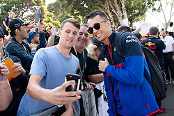 March 16, 2019 - Albert Park, VIC, U.S. - ALBERT PARK, VIC - MARCH 16: Red Bull Toro Rosso Honda driver Alexander Albon arrives at The Australian Formula One Grand Prix on March 16, 2019, at The Melbourne Grand Prix Circuit in Albert Park, Australia. (Photo by Speed Media/Icon Sportswire) (Credit Image: © Steven Markham/Icon SMI via ZUMA Press)