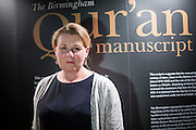 Susan Worrall, Director of Special Collections (Cadbury Research Library), at the University of Birmingham.<br /> ___<br /> <br /> A Qur'an manuscript held by the University of Birmingham has been placed among the oldest in the world thanks to modern scientific methods.<br /> <br /> Radiocarbon analysis has dated the parchment on which the text is written to the period between AD 568 and 645 with 95.4% accuracy. The test was carried out in a laboratory at the University of Oxford. The result places the leaves close to the time of the Prophet Muhammad, who is generally thought to have lived between AD 570 and 632.<br /> <br /> The Qur'an manuscript will be on public display at the University of Birmingham from Friday 2 October until Sunday 25 October and then at the Birmingham Museum and Art Gallery in 2016.
