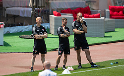 BAKU, AZERBAIJAN - Tuesday, June 8, 2021: Wales' physiotherapist Paul Harris, masseur Chris Senior and physiotherapist James Haycock during a training session at the Tofiq Bahramov Republican Stadium on day one of their UEFA Euro 2020 tournament. (Pic by David Rawcliffe/Propaganda)