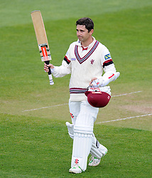 DEJECTION FOR SOMERSET'S JOHANN MYBURGH AS HE IS DISMISSED FOR 118.- Photo mandatory by-line: Harry Trump/JMP - Mobile: 07966 386802 - 12/04/15 - SPORT - CRICKET - LVCC County Championship - Day 1 - Somerset v Durham - The County Ground, Taunton, England.