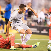 MEADOWLANDS, NEW JERSEY- August 7:   Patrik Schick #14 of AS Roma is tackled by Sergio Reguilón #29 of Real Madrid during the Real Madrid vs AS Roma International Champions Cup match at MetLife Stadium on August 7, 2018 in Meadowlands, New Jersey. (Photo by Tim Clayton/Corbis via Getty Images)