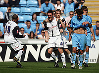 Photo: Rich Eaton.<br /> <br /> Coventry City v Preston North End. Coca Cola Championship. 14/04/2007. David Nugent of Preston #10 heads home his teams second goal  in the first half and celebrates with teammates