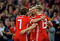 CARDIFF, WALES - Thursday, September 6, 2018: Wales' Gareth Bale celebrates scoring his sides second goal with team-mates Joe Allen, Aaron Ramsey and David Brooks during the UEFA Nations League Group Stage League B Group 4 match between Wales and Republic of Ireland at the Cardiff City Stadium. (Pic by Paul Greenwood/Propaganda)