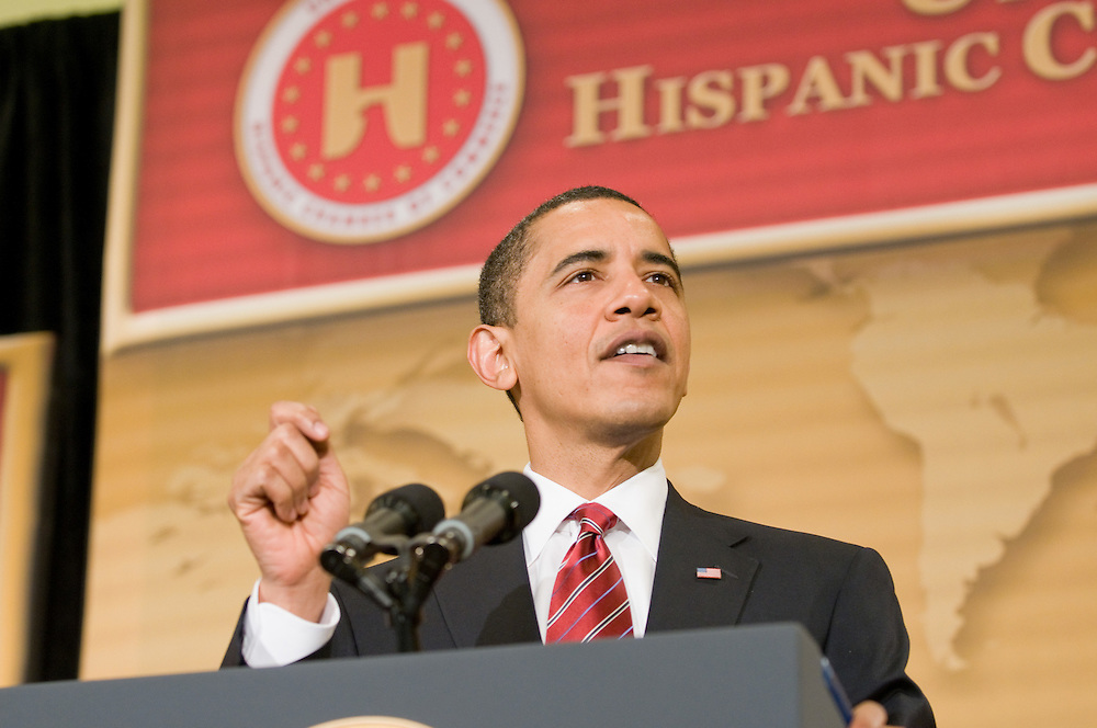 President Barack Obama opens the United States Hispanic Chamber of Commerce's 19th Annual Legislative Conference, in Washington, DC, with a speech on education policy, Tuesday, March 10, 2009.
