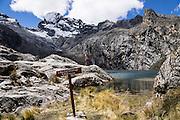 Near Huaraz, day hike 630 meters vertically up a steep trail to Lake/Lago Churup (around 4450 to 4465 meters elevation) in the Cordillera Blanca, Andes Mountains, Peru, South America.