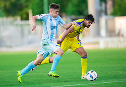 Tilen Nagode of Gorica vs Omri Ben Harush of Maccabi during 2nd Leg football match between ND Gorica and Maccabi Tel Aviv FC (ISR) in First Qualifying Round of UEFA Europa League 2016/17, on July 7, 2016 in Sports park Nova Gorica, Slovenia. Photo by Vid Ponikvar / Sportida