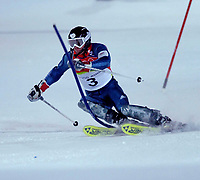 Photo: Catrine Gapper.<br /> Winter Olympics, Turin 2006. Alpine Skiing Men's Combined Slalom. 14/02/2006. Noel Baxter (GBR) come in fourteen in the partial results.