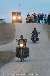 Riding to the main stage for the Florida Georgia Line and ZZ Top concert at the Buffalo Chip Campground during the annual Sturgis Black Hills Motorcycle Rally. SD, USA. August 6, 2014.  Photography ©2014 Michael Lichter.