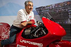 Dino Romano of Motodalcuore Grosseto, Italy on his Bonneville raced Suzuki GSXR 1000 at Motor Bike Expo (MBE) bike show. Verona, Italy. Saturday, January 18, 2020. Photography ©2020 Michael Lichter.