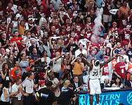 COPYRIGHT DAVID RICHARD.LeBron James tosses a handful of powder in the air during his pre-game routine before Cleveland's win over Detroit..Detroit Pistons at Cleveland Cavaliers in Game 6 of the NBA Eastern Conference Finals, June 2, 2007.