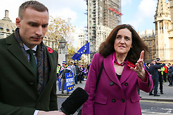 © Licensed to London News Pictures. 05/11/2019. London, UK. A reporter speaks with Secretary of State for Environment, Food & Rural Affairs THERESA VILLIERS in Westminster. A general election will be held on 12 December 2019.Photo credit: Dinendra Haria/LNP