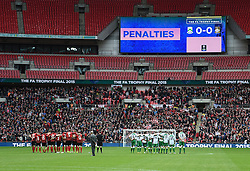 North Ferriby United and Wrexham players line up for penalties in the thrilling FA Trophy Final at Wembley Stadium - Photo mandatory by-line: Paul Knight/JMP - Mobile: 07966 386802 - 29/03/2015 - SPORT - Football - London - Wembley Stadium - North Ferriby United v Wrexham - FA Trophy