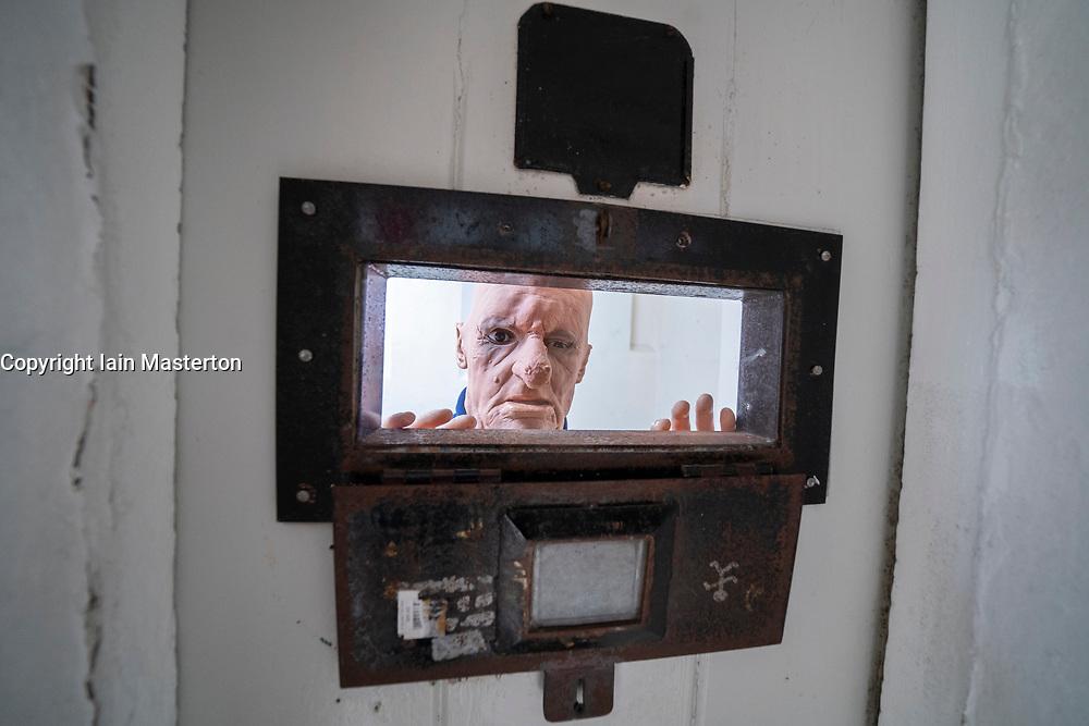 Cell inside hall at Peterhead Prison Museum in Peterhead, Aberdeenshire, Scotland, UK