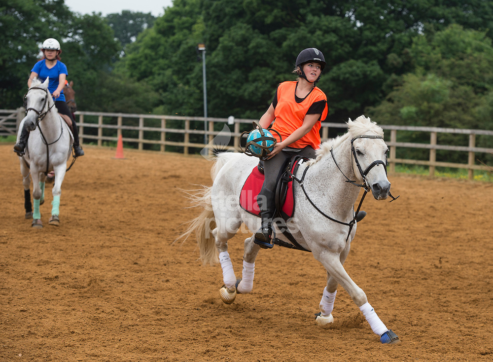 Becky Frost during practise horseball at Arkley Lane Stables, Barnet.<br /> Picture by Daniel Hambury/Stella Pictures Ltd +44 7813 022858<br /> 04/06/2016