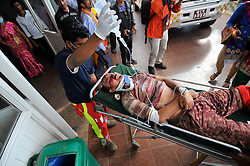 September 27, 2016 - Kathmandu, Nepal - Hospital Staffs carrying an Injured passenger towards Tribhuwan University Teaching Hospital in Kathmandu for treatment as rescued from fell around 200 meters down near Pantatar of Marpak on Tuesday, September 27, 2016. The bus was heading towards to Kintang Phedi from Dhading. (Credit Image: © Narayan Maharjan/NurPhoto via ZUMA Press)