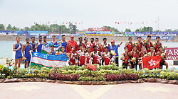 PALEMBANG, Aug. 24, 2018  Medalists pose for photos during the awarding cermony for the men's lightweight eight final of the rowing event at the Asian Games 2018 in Palembang, Indonesia on Aug. 24, 2018. (Credit Image: © Cheng Min/Xinhua via ZUMA Wire)