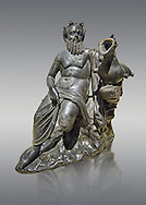 Roman Bronze sculpture of Silenus from atrium of the Villa of the Papyri in Herculaneum, Museum of Archaeology, Italy, grey background.<br /> <br /> If you prefer to buy from our ALAMY STOCK LIBRARY page at https://www.alamy.com/portfolio/paul-williams-funkystock/greco-roman-sculptures.html . Type -    Naples    - into LOWER SEARCH WITHIN GALLERY box - Refine search by adding a subject, place, background colour, etc.<br /> <br /> Visit our ROMAN WORLD PHOTO COLLECTIONS for more photos to download or buy as wall art prints https://funkystock.photoshelter.com/gallery-collection/The-Romans-Art-Artefacts-Antiquities-Historic-Sites-Pictures-Images/C0000r2uLJJo9_s0