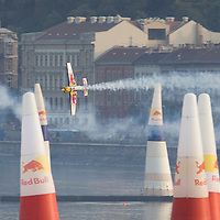 0708193940a Red Bull Air Race international air show qualifying runs over the river Danube, Budapest preceding the anniversary of Hungarian state foundation. Hungary. Sunday, 19. August 2007. ATTILA VOLGYI